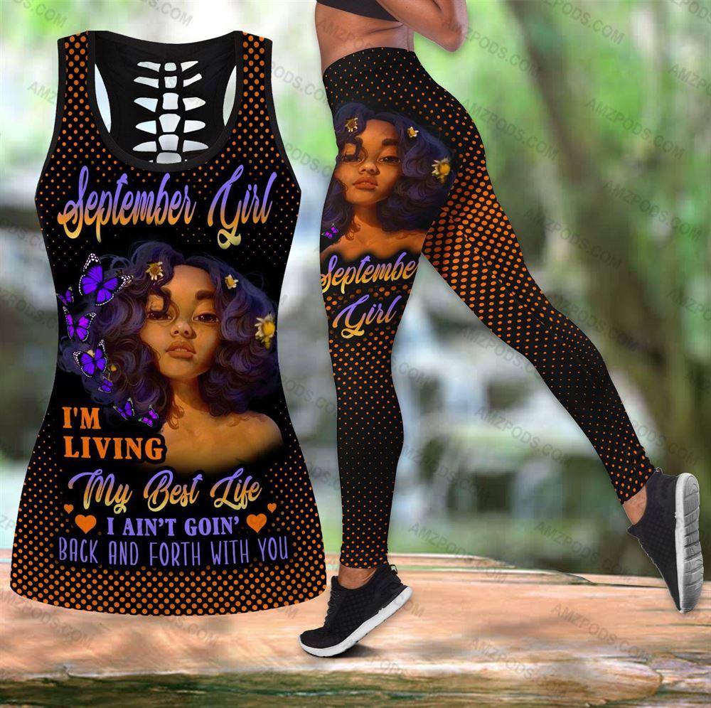 September Birthday Girl Combo September Outfit Hollow Tanktop Legging Personalized Set V020