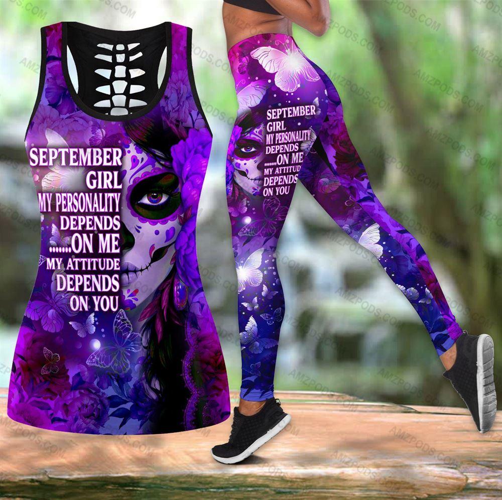 September Birthday Girl Combo September Outfit Hollow Tanktop Legging Personalized Set V034