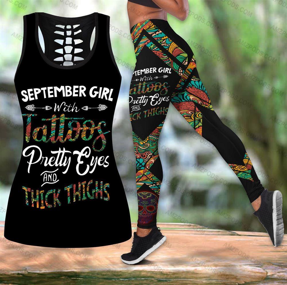September Birthday Girl Combo September Outfit Hollow Tanktop Legging Personalized Set V04