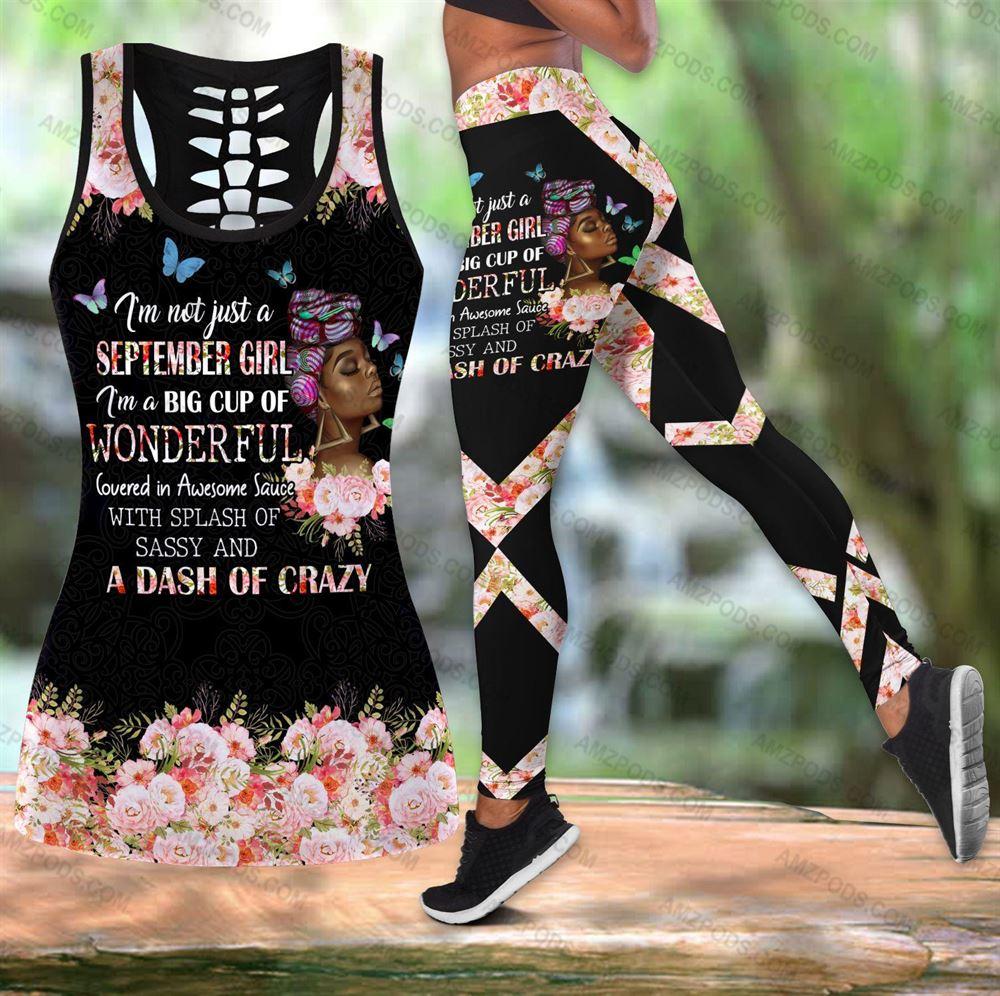 September Birthday Girl Combo September Outfit Hollow Tanktop Legging Personalized Set V046