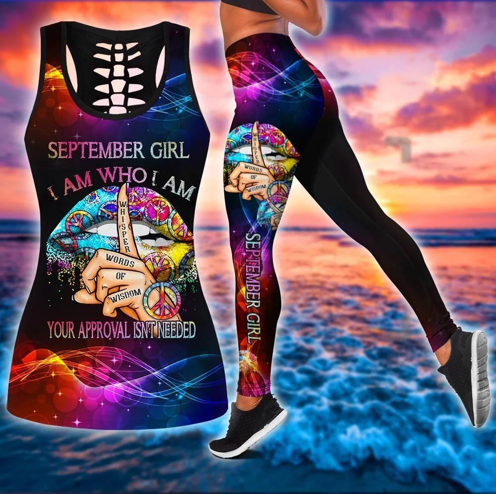 September Birthday Girl Combo September Outfit Hollow Tanktop Legging Personalized Set V060