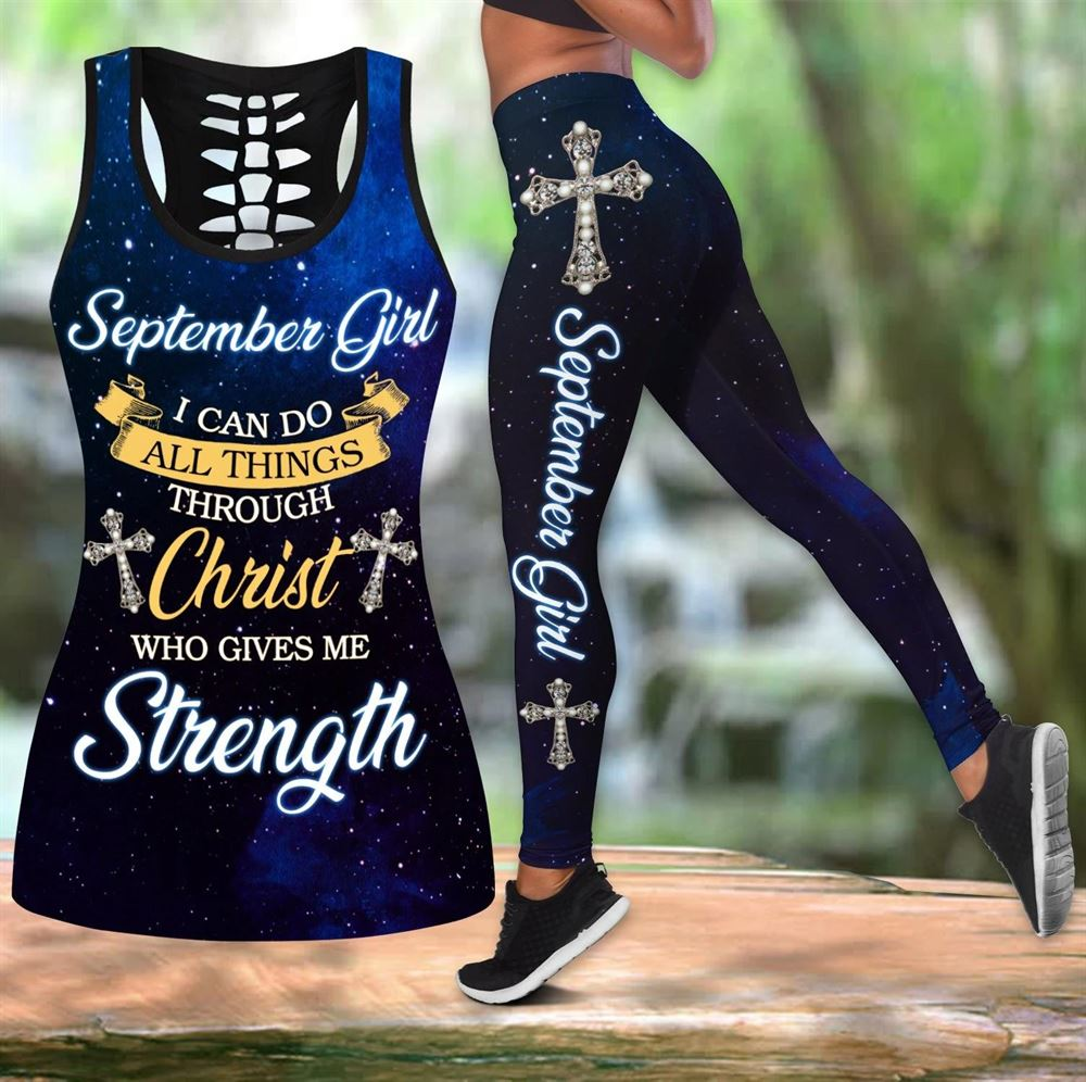 September Birthday Girl Combo September Outfit Hollow Tanktop Legging Personalized Set V062