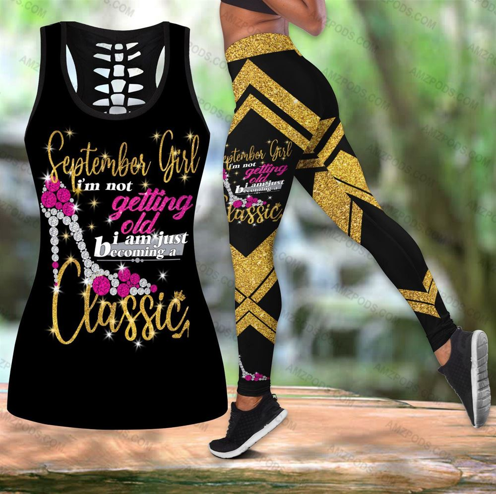 September Birthday Girl Combo September Outfit Hollow Tanktop Legging Personalized Set V07