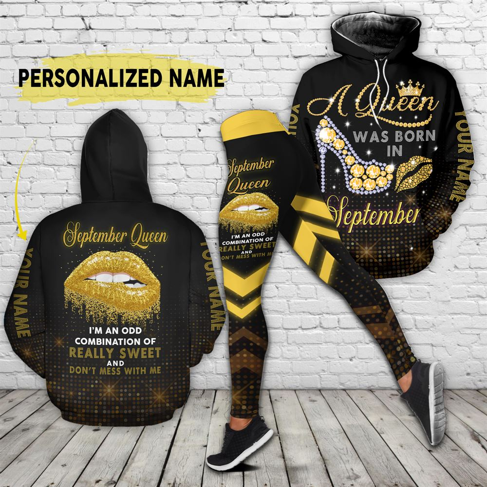 September Birthday Girl Combo September Outfit Personalized Hoodie Legging Set V017