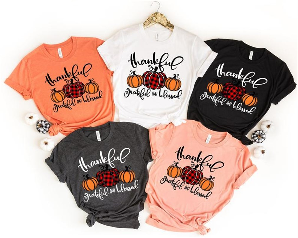 Thankful Grateful Blessed Shirt Thanksgiving T-shirt Buffalo Plaid Thanksgiving Shirt Thanksgiving Family Shirts Thanksgiving Shirts