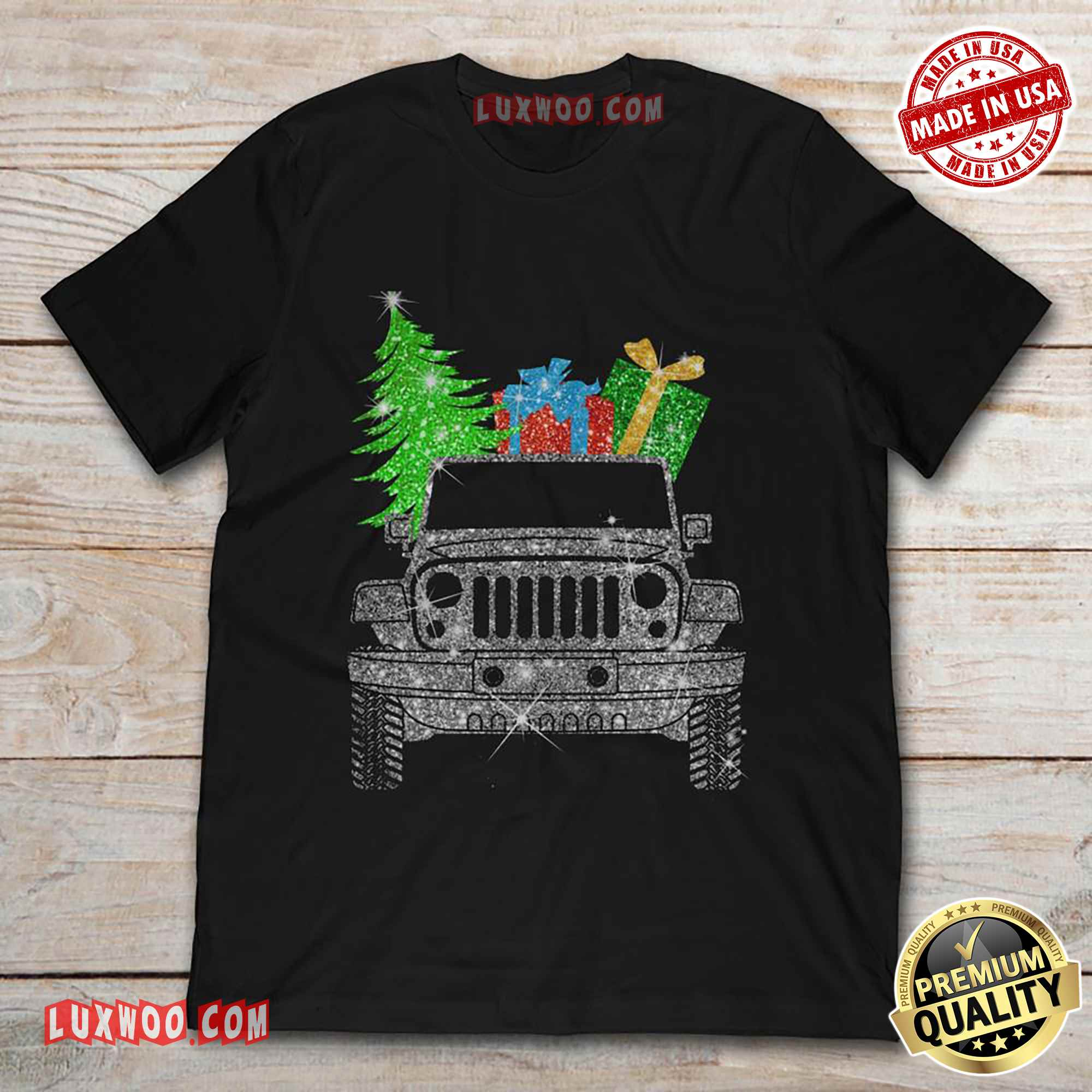 Jeep Carring Christmas Tree And Gifts Tshirt
