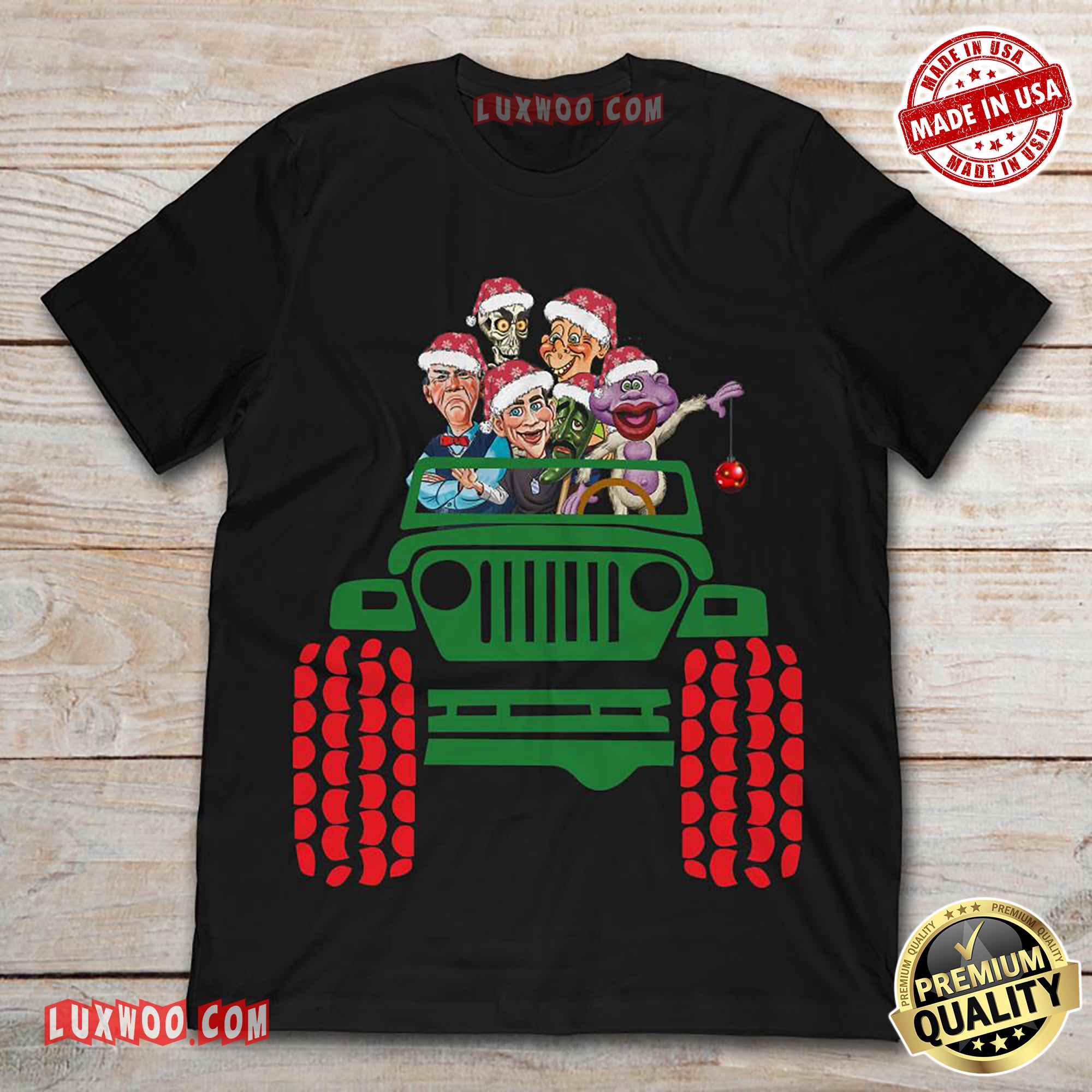Jeff Dunham And Pupet Characters On Jeep Christmas Shirt