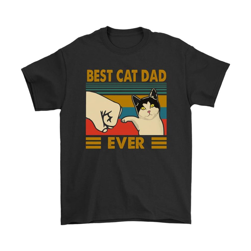 Best Cat Dad Ever Fist Bump With Cat Vintage Shirts Full Size Up To 5xl