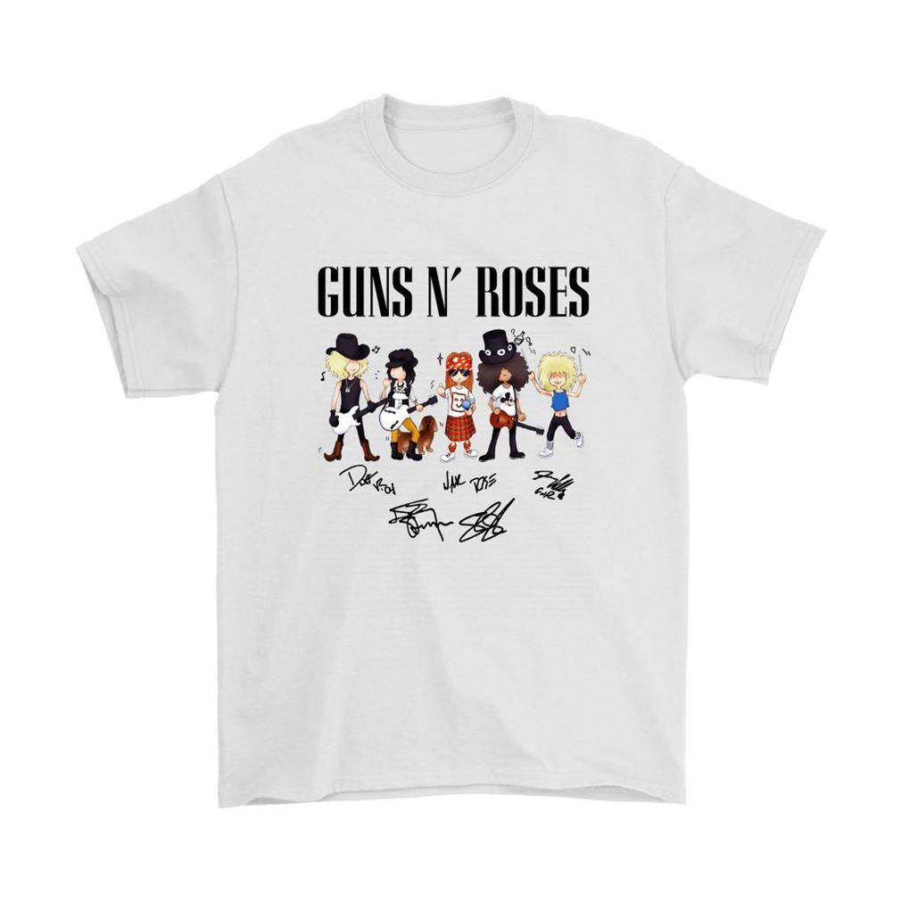 Cartoonish Gun N Rose Signatures Shirts Full Size Up To 5xl