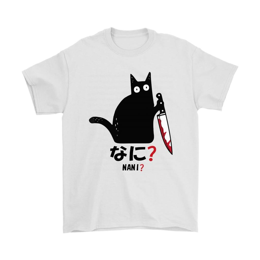 Cat Killer Bloody Knife Nani Japanese Characters Shirts Full Size Up To 5xl