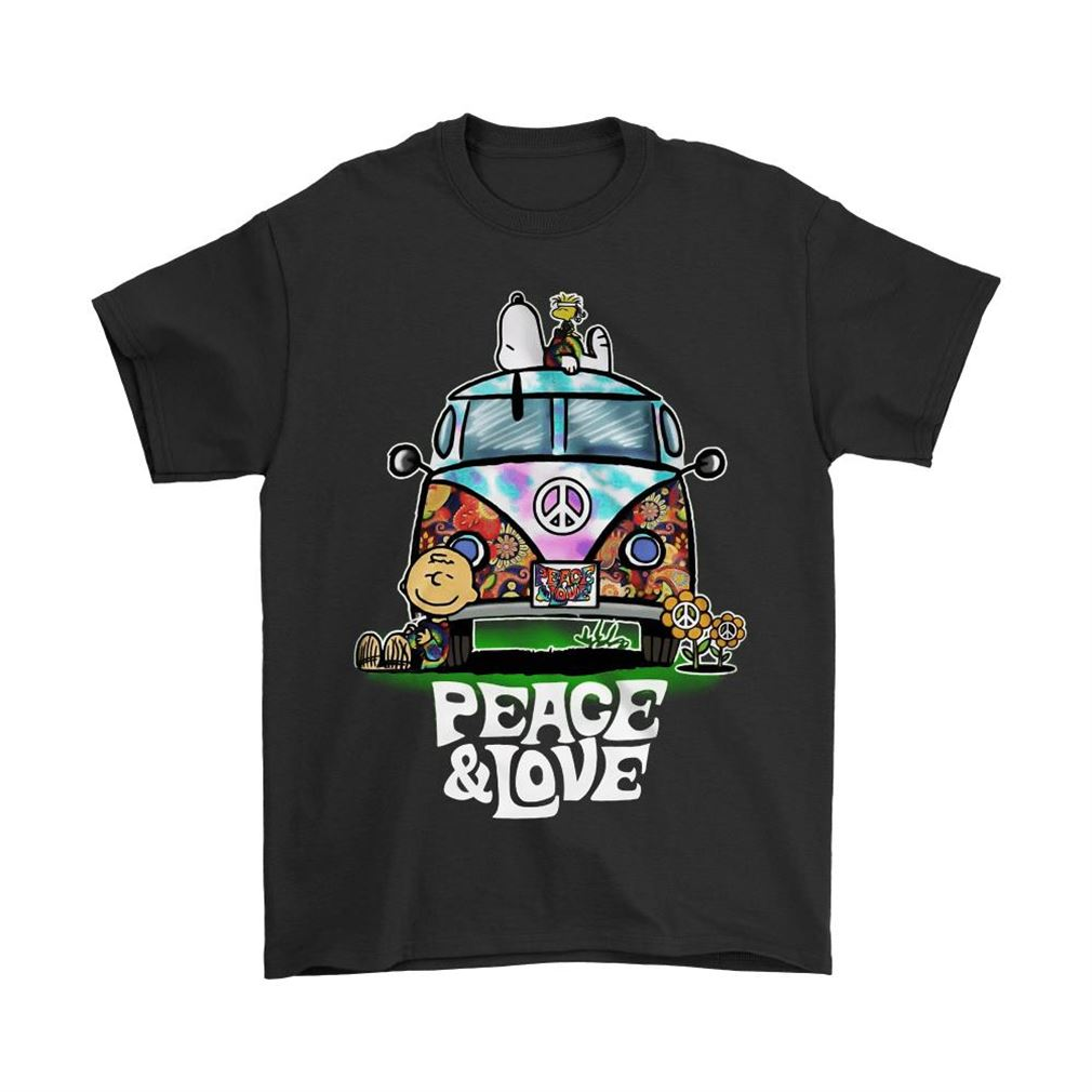 Peace And Love Hippie Style Snoopy Shirts Plus Size Up To 5xl