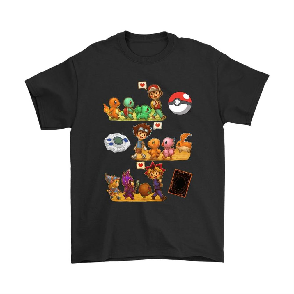 Pokemon Digimon Yugioh Starters Childhood Memory Shirts Plus Size Up To 5xl