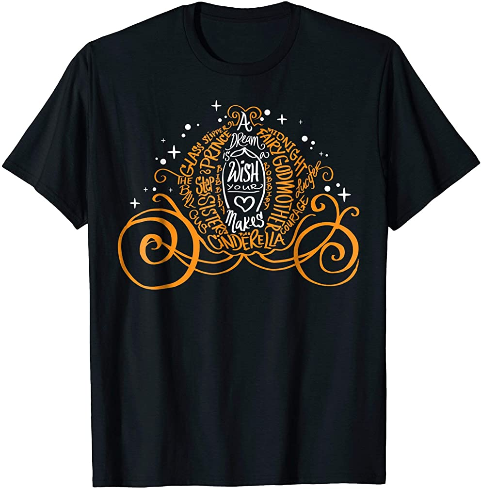 Cinderella Halloween Pumpkin Coach Graphic T-shirt Size Up To 5xl