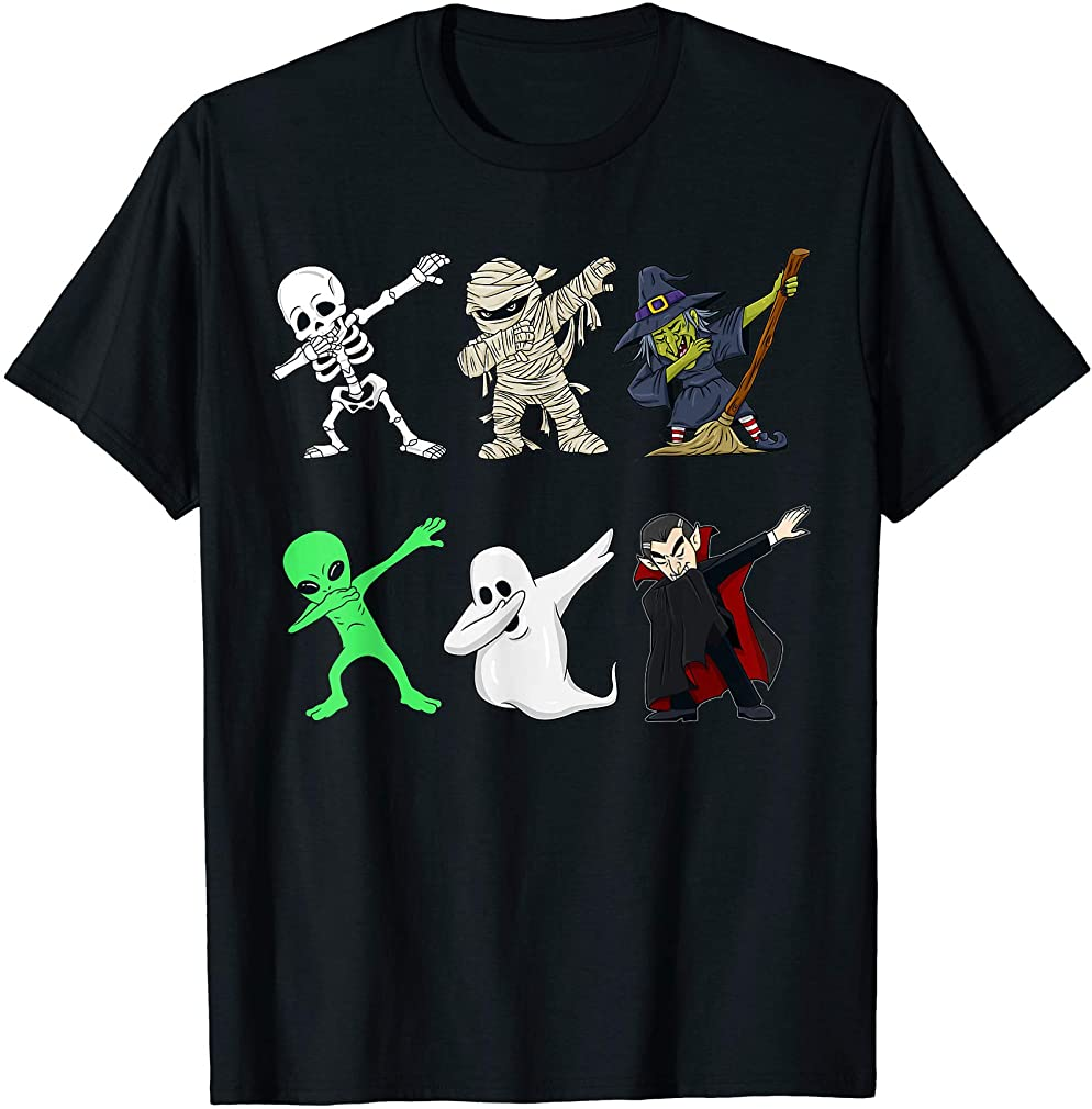 Dabbing Skeleton And Monsters Halloween Dracula Boys Kids T-shirt Size Up To 5xl