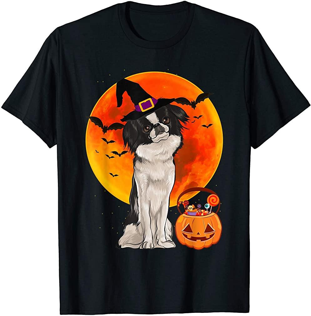 Dog Halloween Japanese Chin Jack O Lantern Pumpkin T-shirt Plus Size Up To 5xl