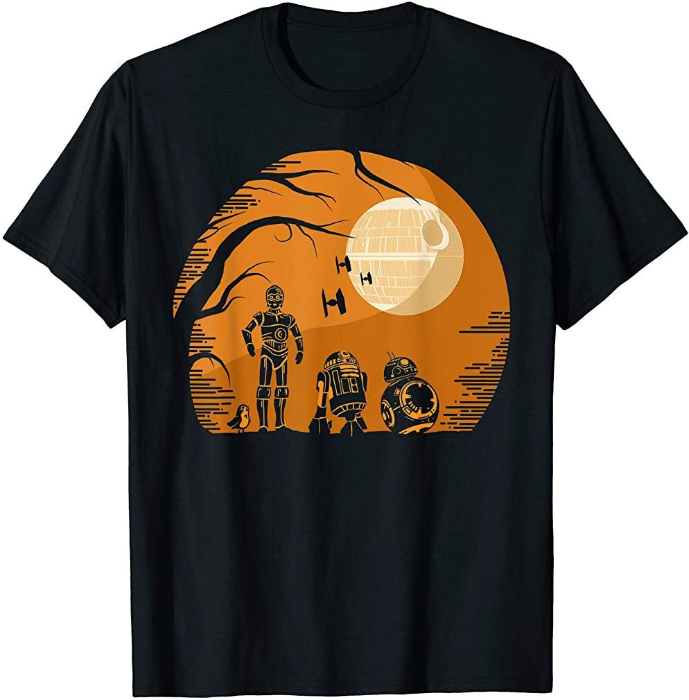 Droids Halloween Orange Hue Death Star Portrait T-shirt Size Up To 5xl