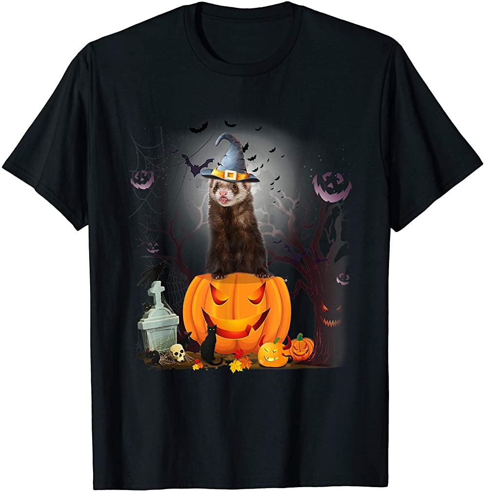 Funny Ferret Pumpkin Tshirt Halloween Costume Gifts Tee Plus Size Up To 5xl