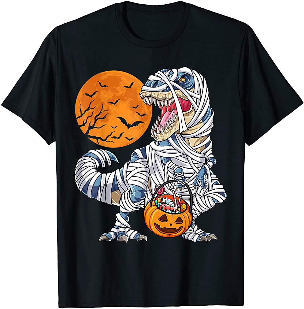 Halloween Shirts For Boys Kids Dinosaur T Rex Mummy Pumpkin T-shirt Size Up To 5xl