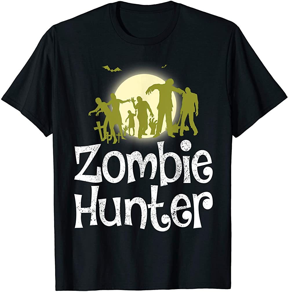 Halloween Zombie Hunter Bat T Shirt Funny Gift Men Kids Boys Size Up To 5xl