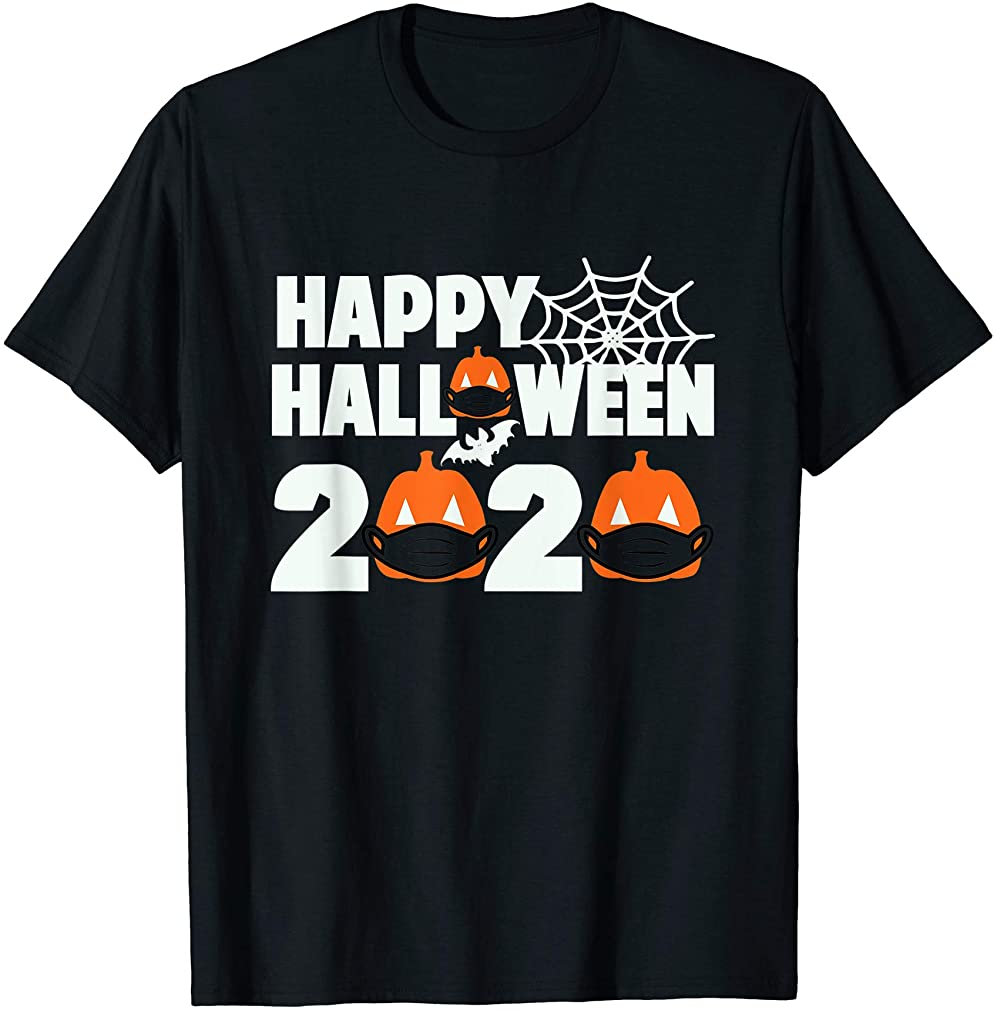 Happy Halloween 2020 Pumpkin With Mask Face Funny Gift T-shirt Size Up To 5xl