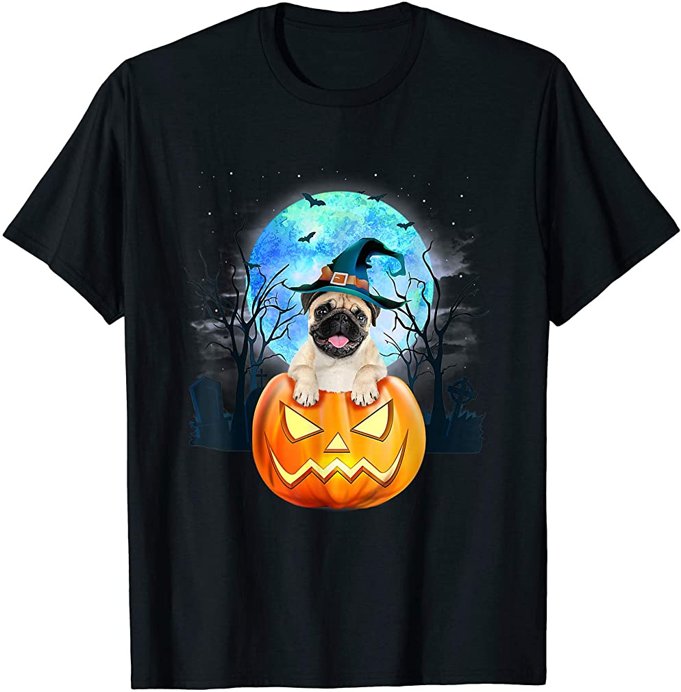 Pug Dog Witch Hat Halloween Pumpkin Gift T-shirt Plus Size Up To 5xl