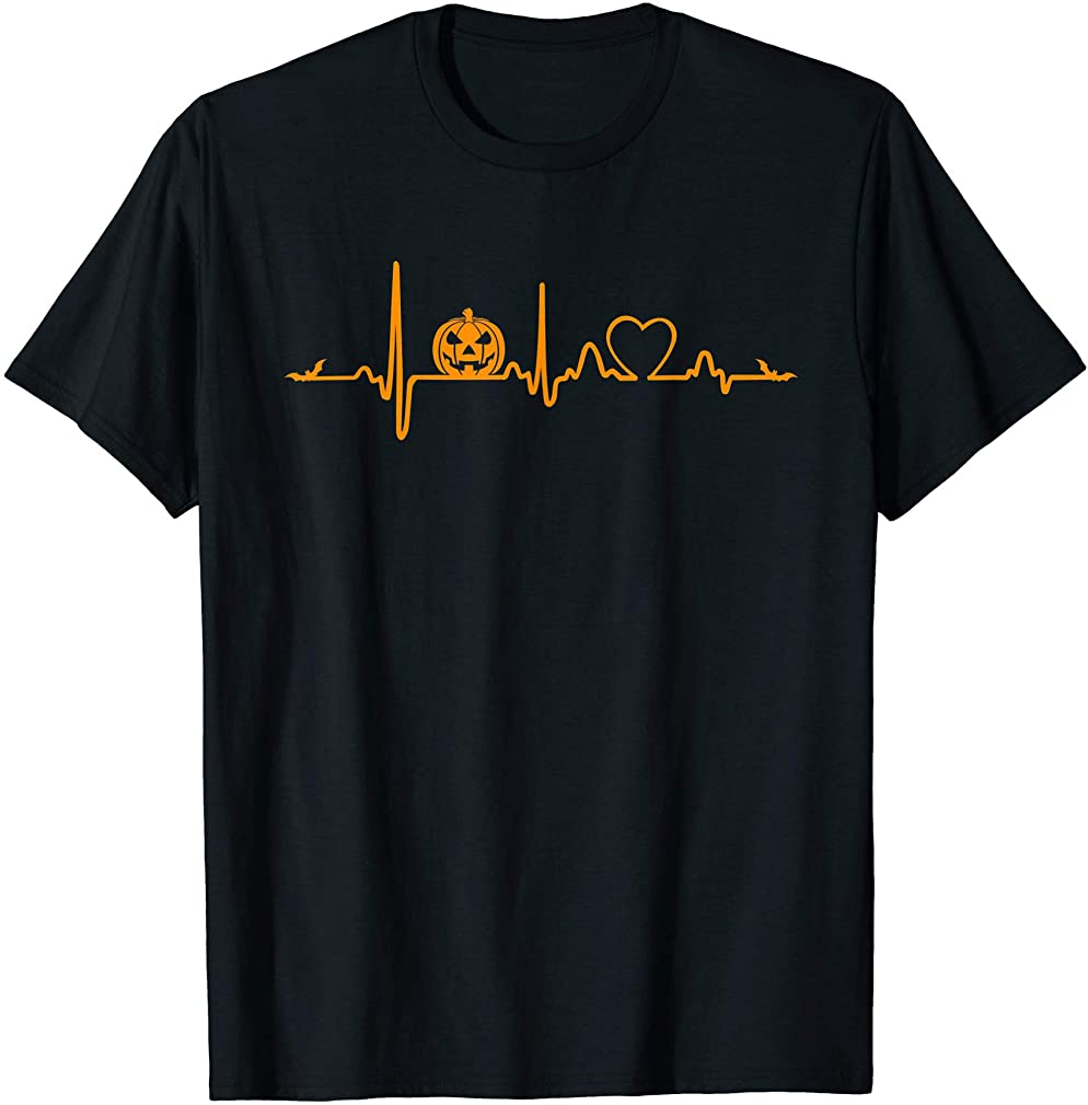 Pumpkin Heartbeat Halloween T-shirt Plus Size Up To 5xl