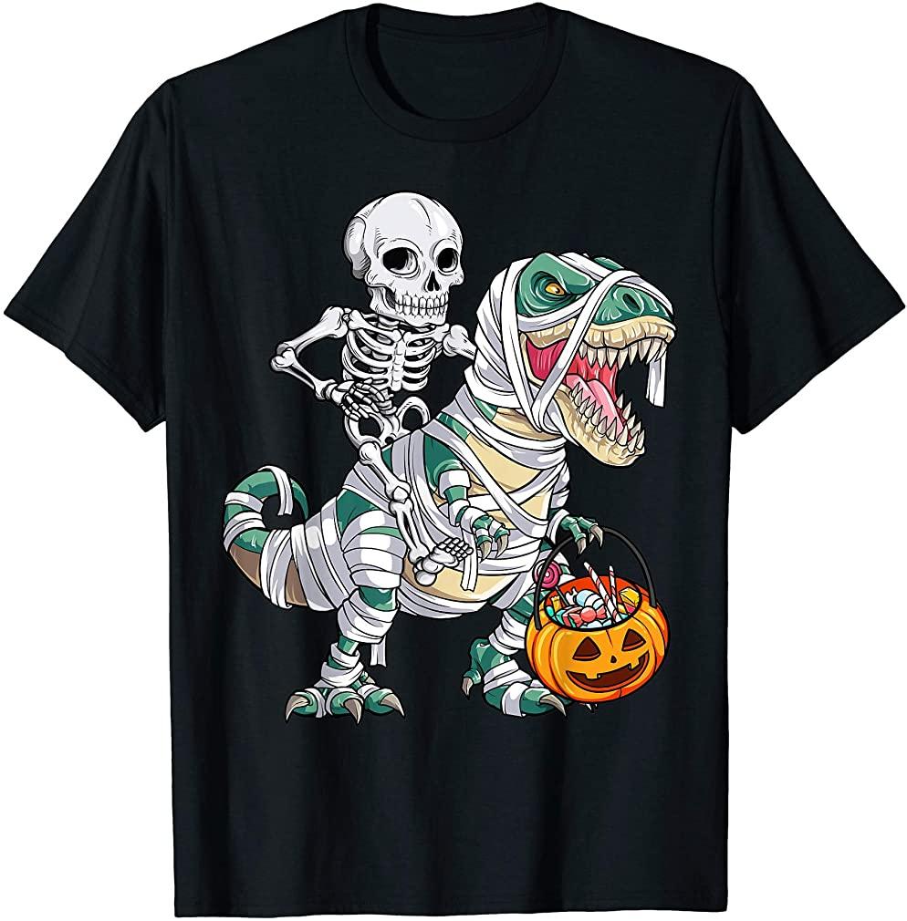 Skeleton Riding Mummy Dinosaur T Rex Halloween Kids Boys Men T-shirt Size Up To 5xl