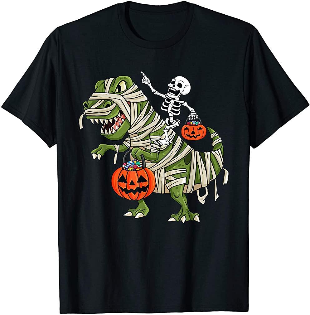 Skeleton Riding Mummy T Rex Halloween Boys Girls Kids T-shirt Size Up To 5xl