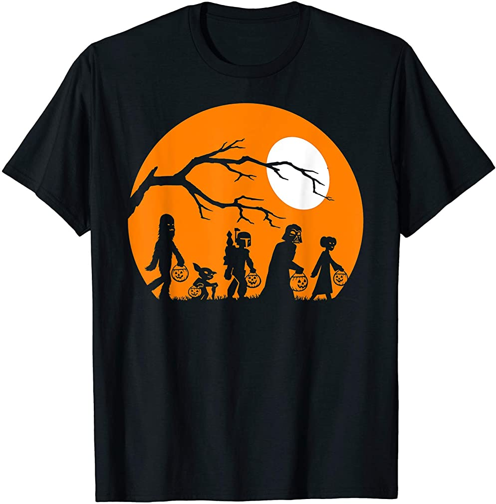 Trick Or Treat Halloween Silhouette T-shirt T-shirt Size Up To 5xl