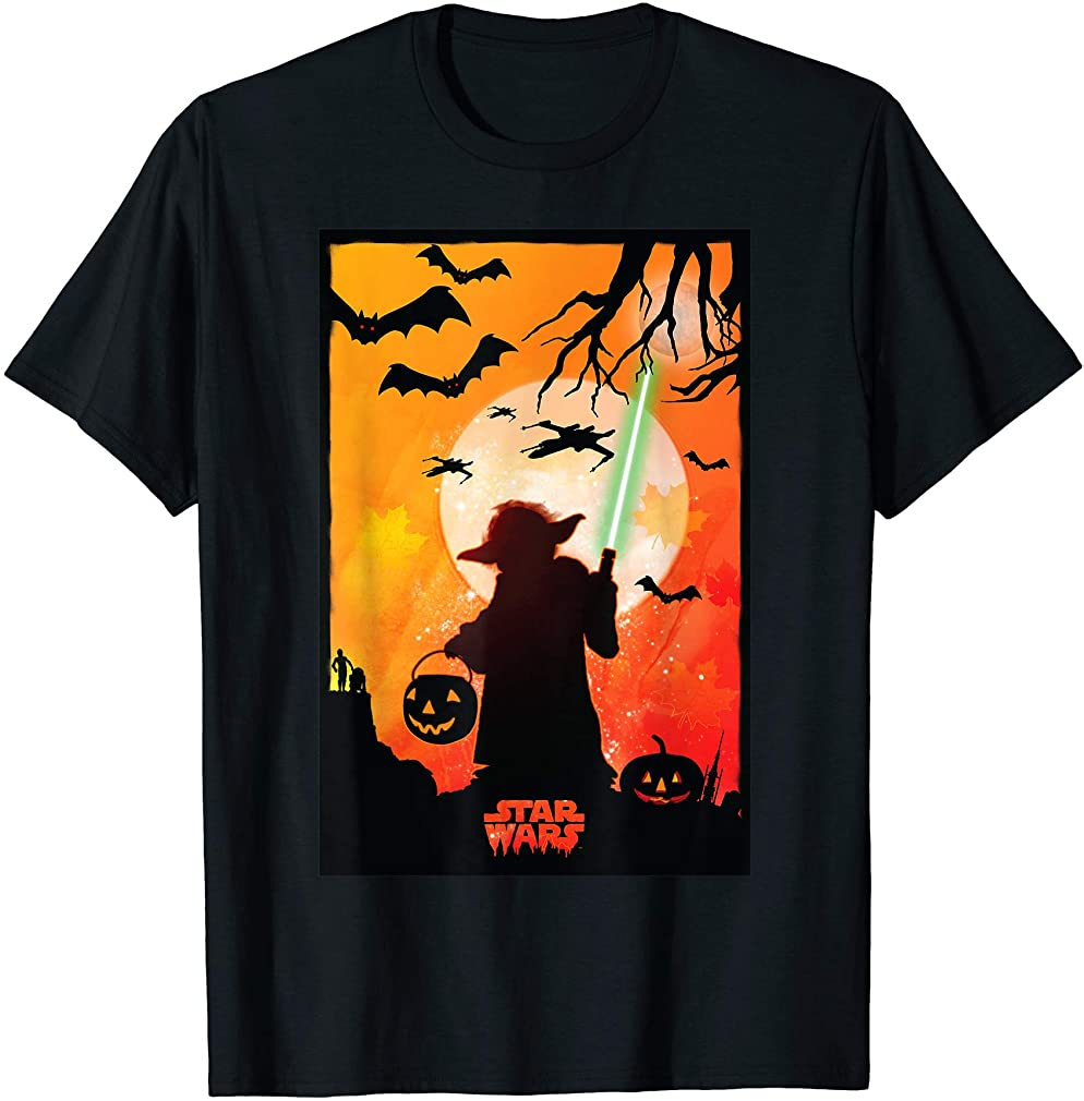 Yoda Silhouette Halloween T-shirt Size Up To 5xl