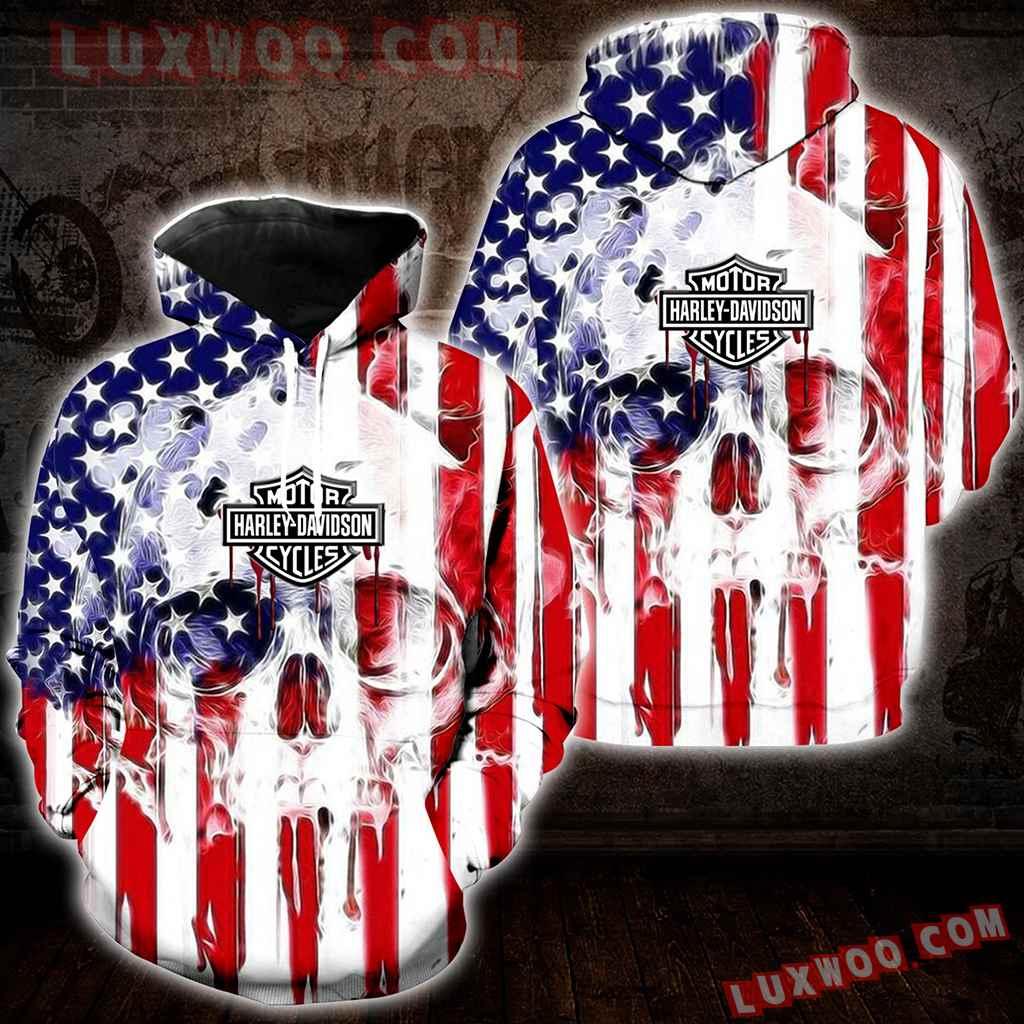 American Flag Harley Davidson 3d Hoodies Printed Zip Hoodies V1