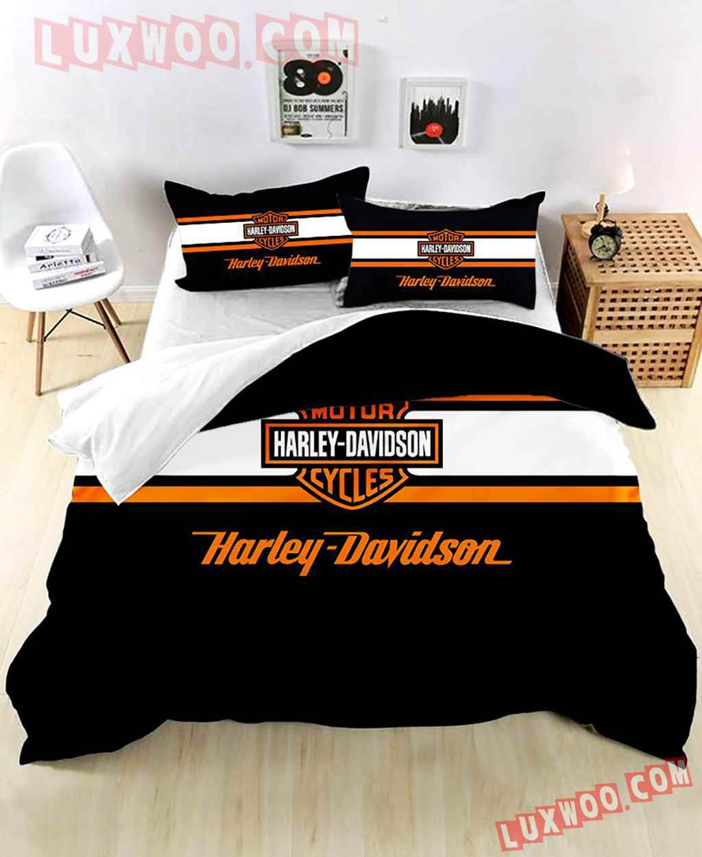Black 3d Quilt Bedding Set Harley Davidson V1