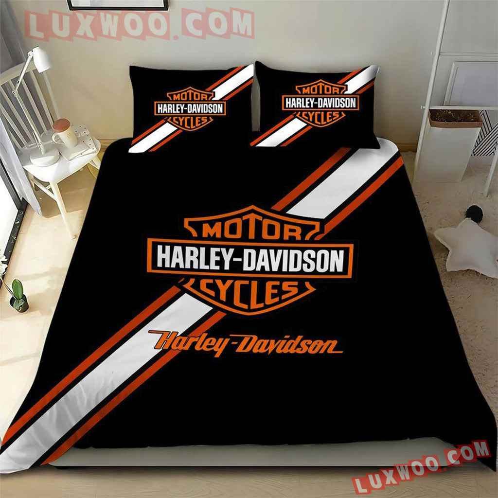 Black 3d Quilt Bedding Set Harley Davidson V2