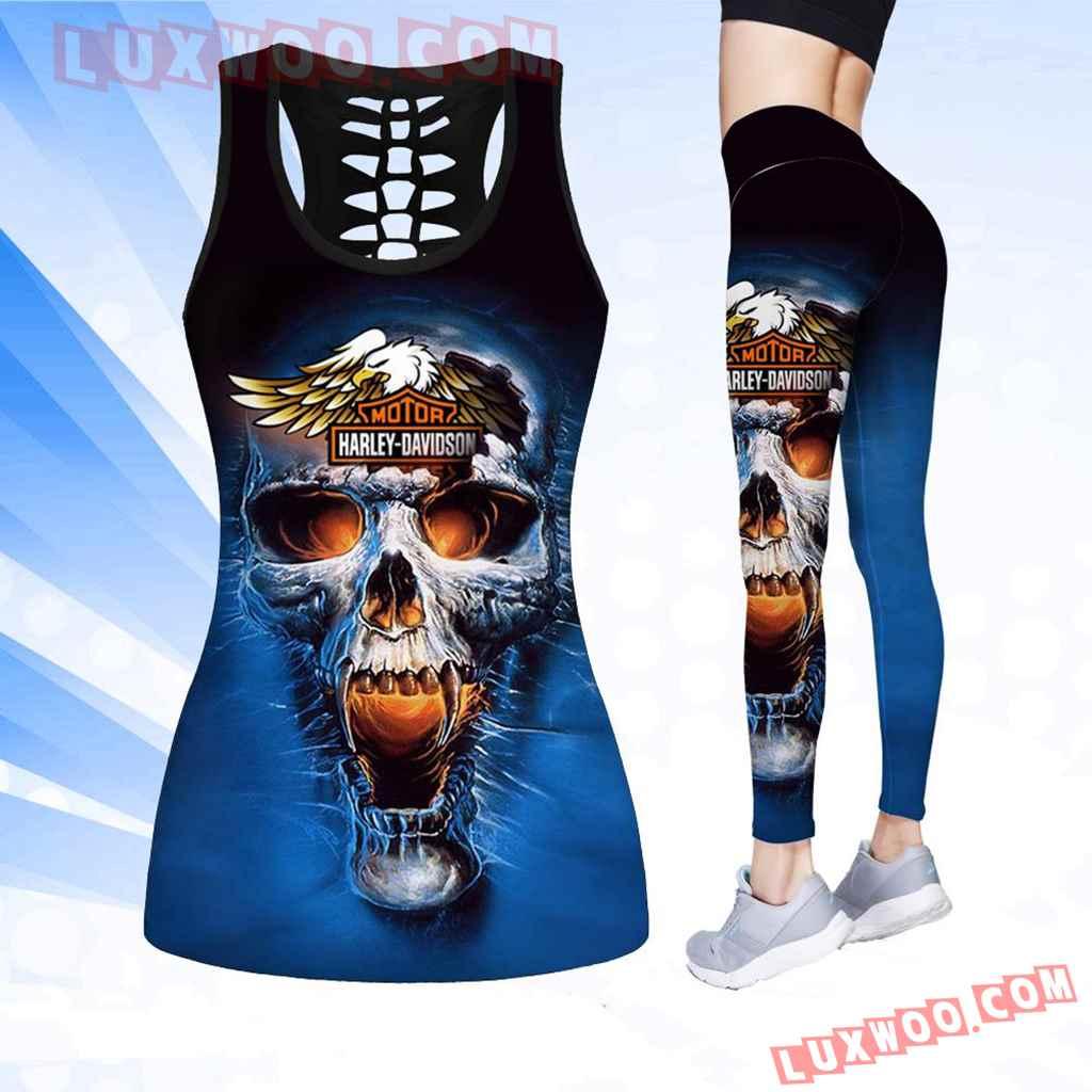 Combo Harley Davidson Blue Skull Hollow Tanktop Legging Set Outfit K1520