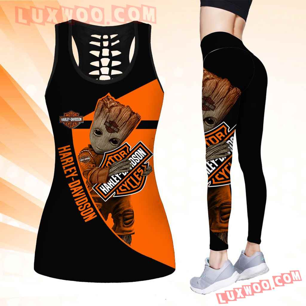 Combo Harley Davidson Groot Hollow Tanktop Legging Set Outfit K1524