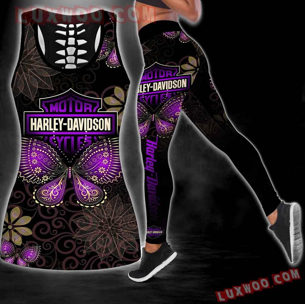 Combo Harley Davidson Hippie Mandala Hollow Tanktop Legging Set Outfit K2056