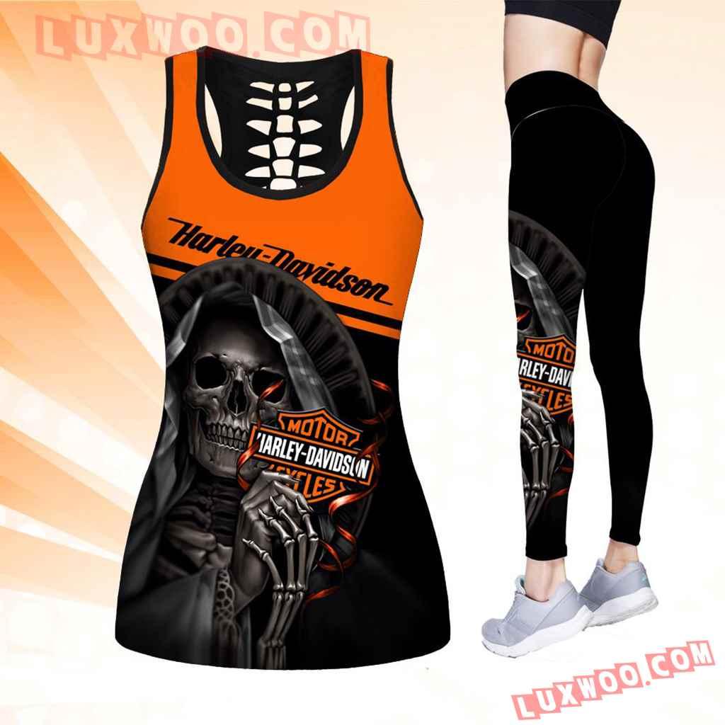 Combo Harley Davidson Hollow Tanktop Legging Set Outfit K1523