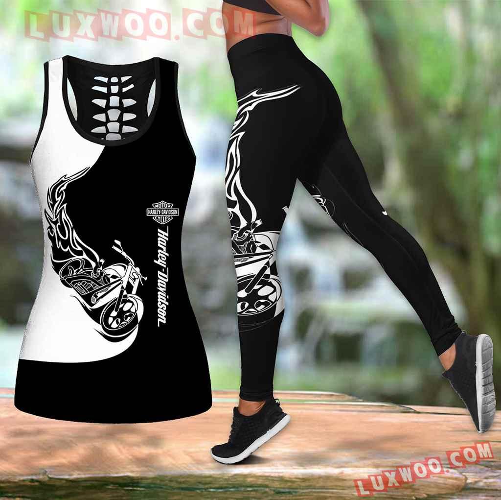 Combo Harley Davidson Hollow Tanktop Legging Set Outfit K1530