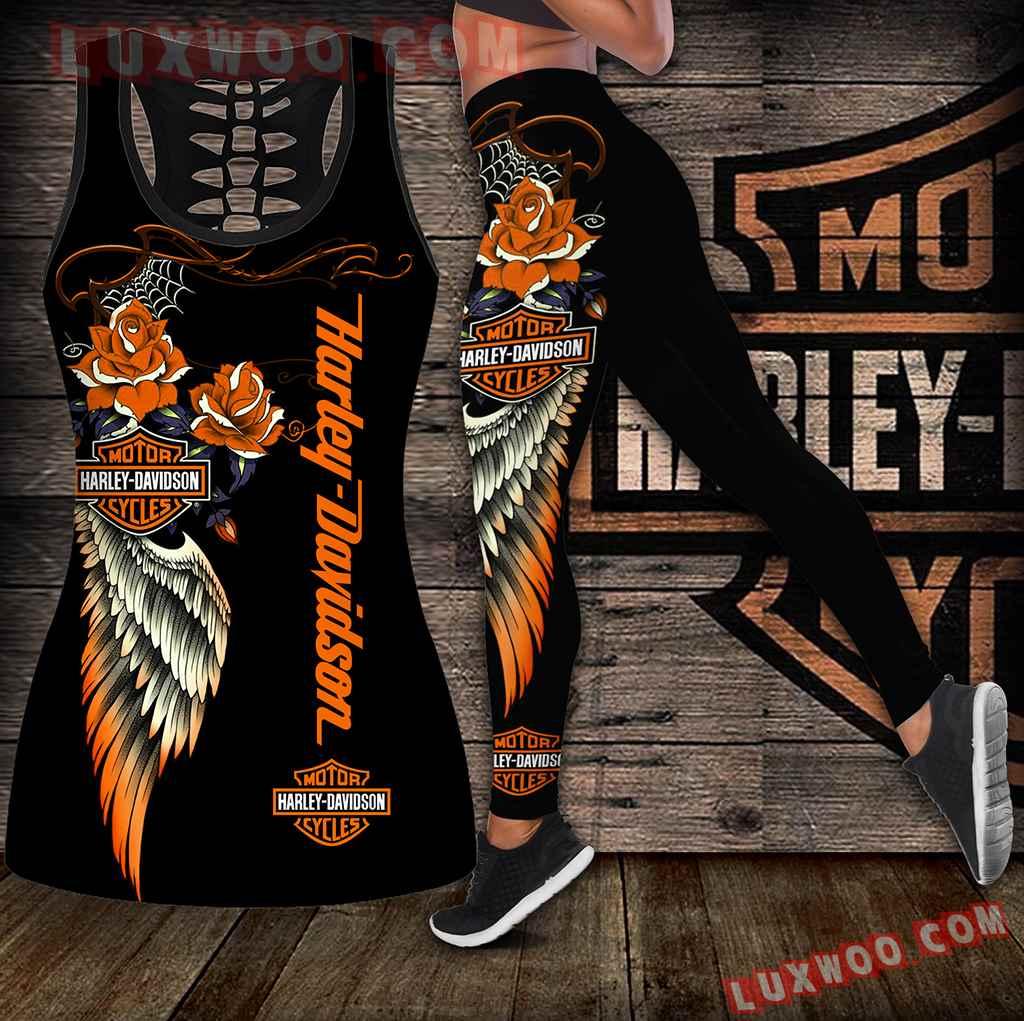 Combo Harley Davidson Hollow Tanktop Legging Set Outfit K1842