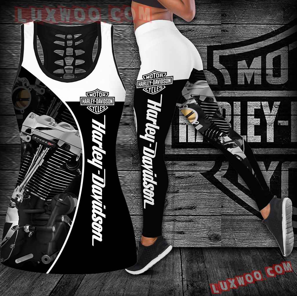 Combo Harley Davidson Hollow Tanktop Legging Set Outfit K1844