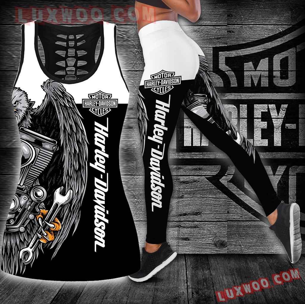 Combo Harley Davidson Hollow Tanktop Legging Set Outfit K1896
