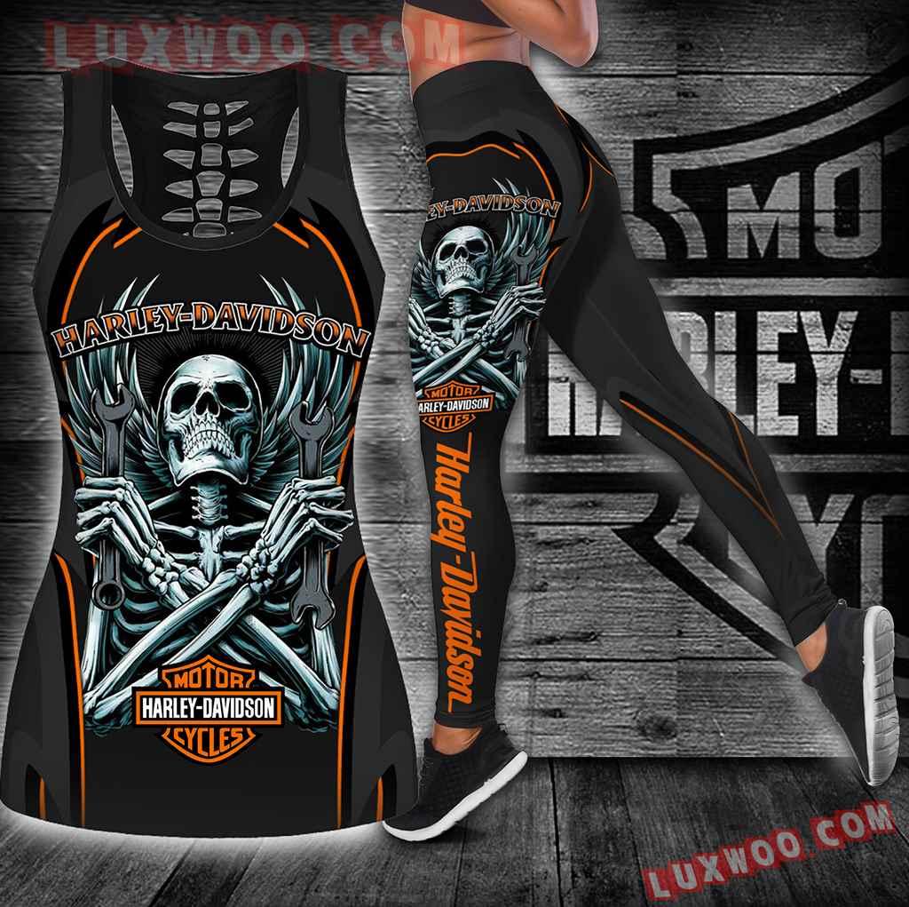 Combo Harley Davidson Hollow Tanktop Legging Set Outfit K1903