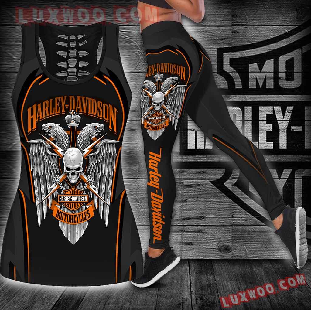 Combo Harley Davidson Hollow Tanktop Legging Set Outfit K1904