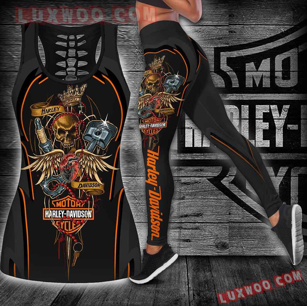 Combo Harley Davidson Hollow Tanktop Legging Set Outfit K1905