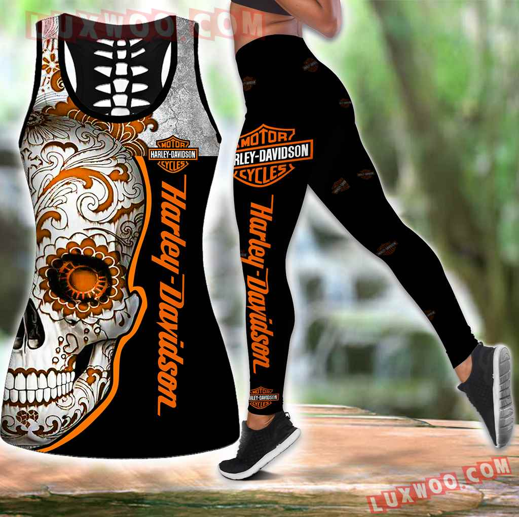 Combo Harley Davidson Motorcycle Hollow Tanktop Legging Set Outfit B1034