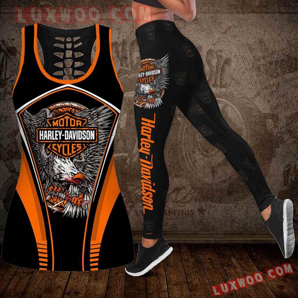 Combo Harley Davidson Motorcycle Hollow Tanktop Legging Set Outfit K1999