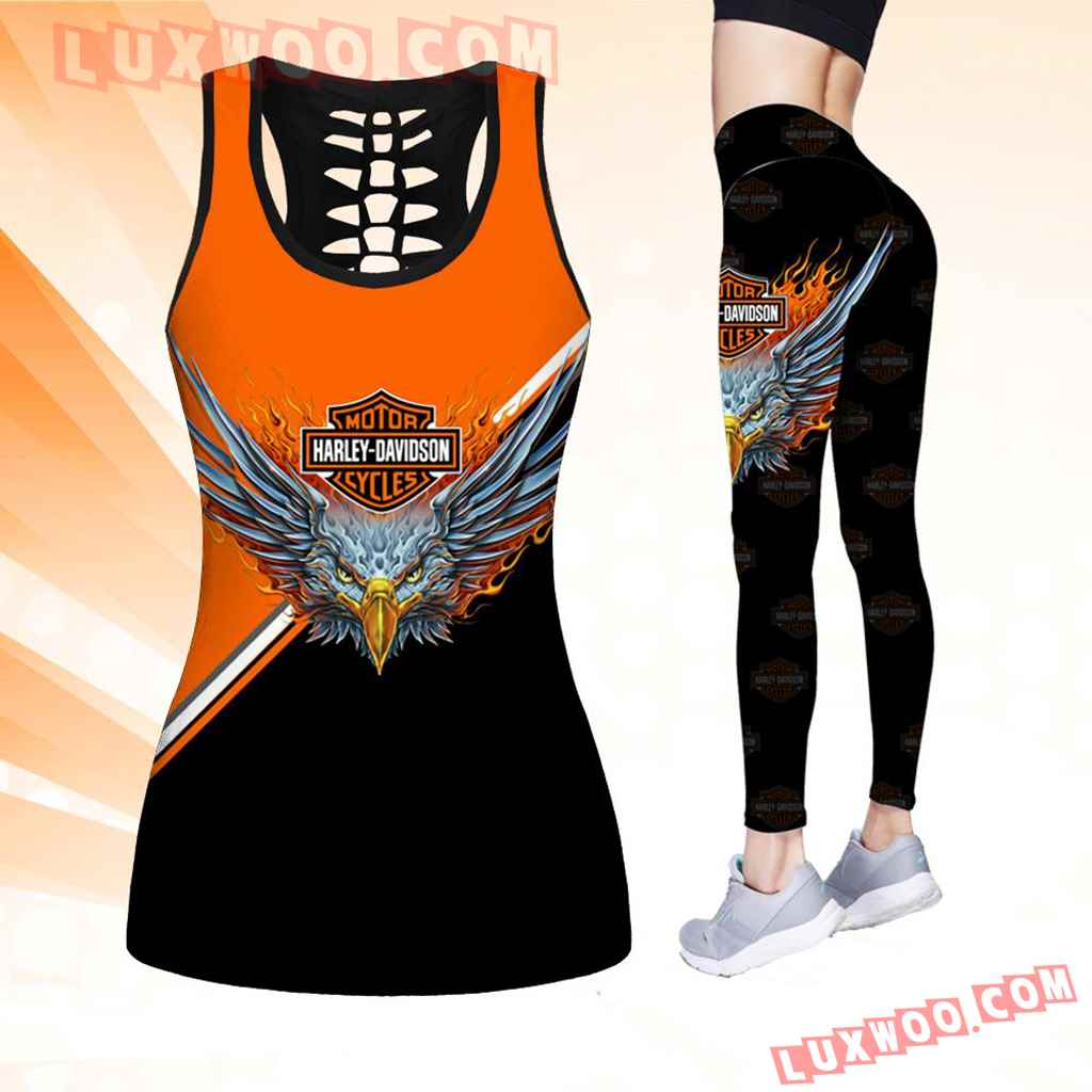 Combo Harley Davidson New Eagle Hollow Tanktop Legging Set Outfit K1527