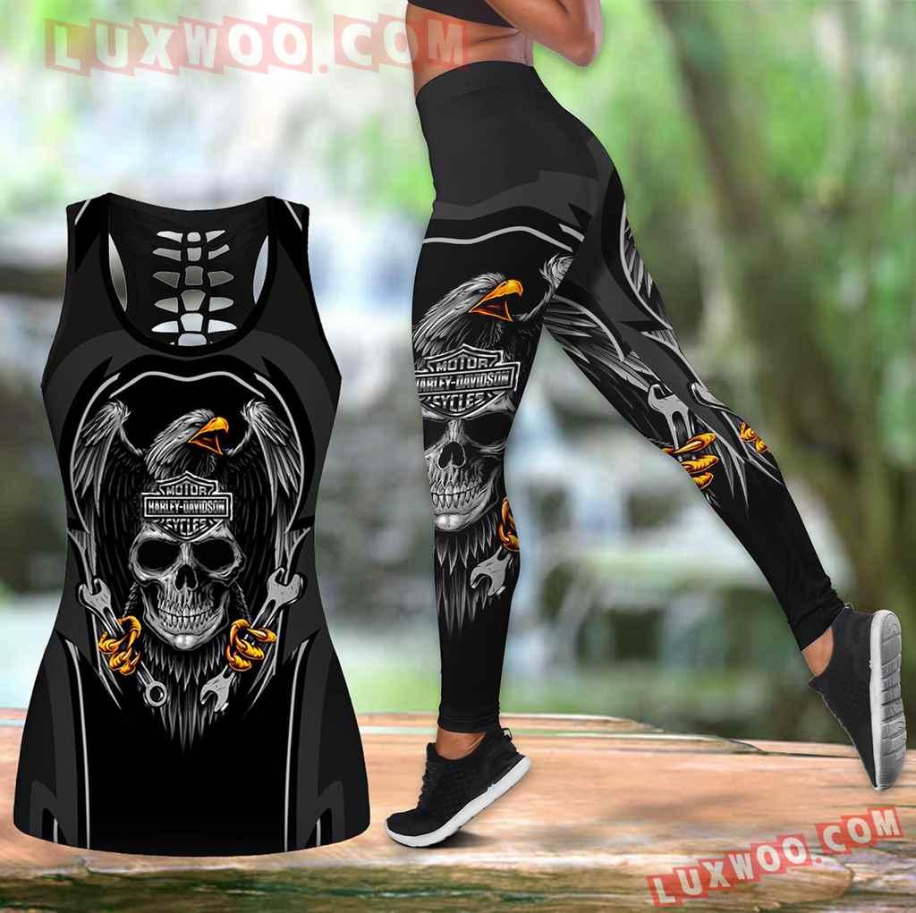 Combo Harley Davidson New Eagle Hollow Tanktop Legging Set Outfit K1534