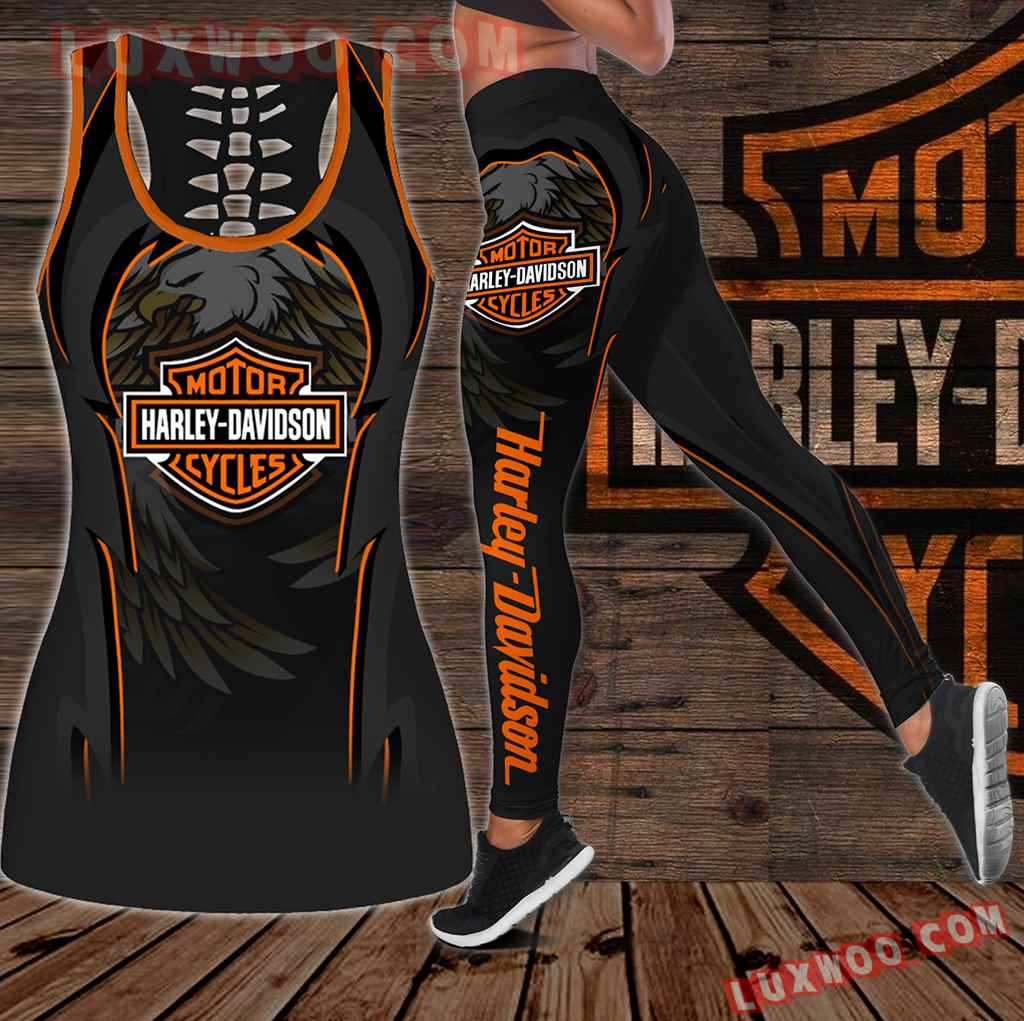 Combo Harley Davidson New Eagle Hollow Tanktop Legging Set Outfit K1933