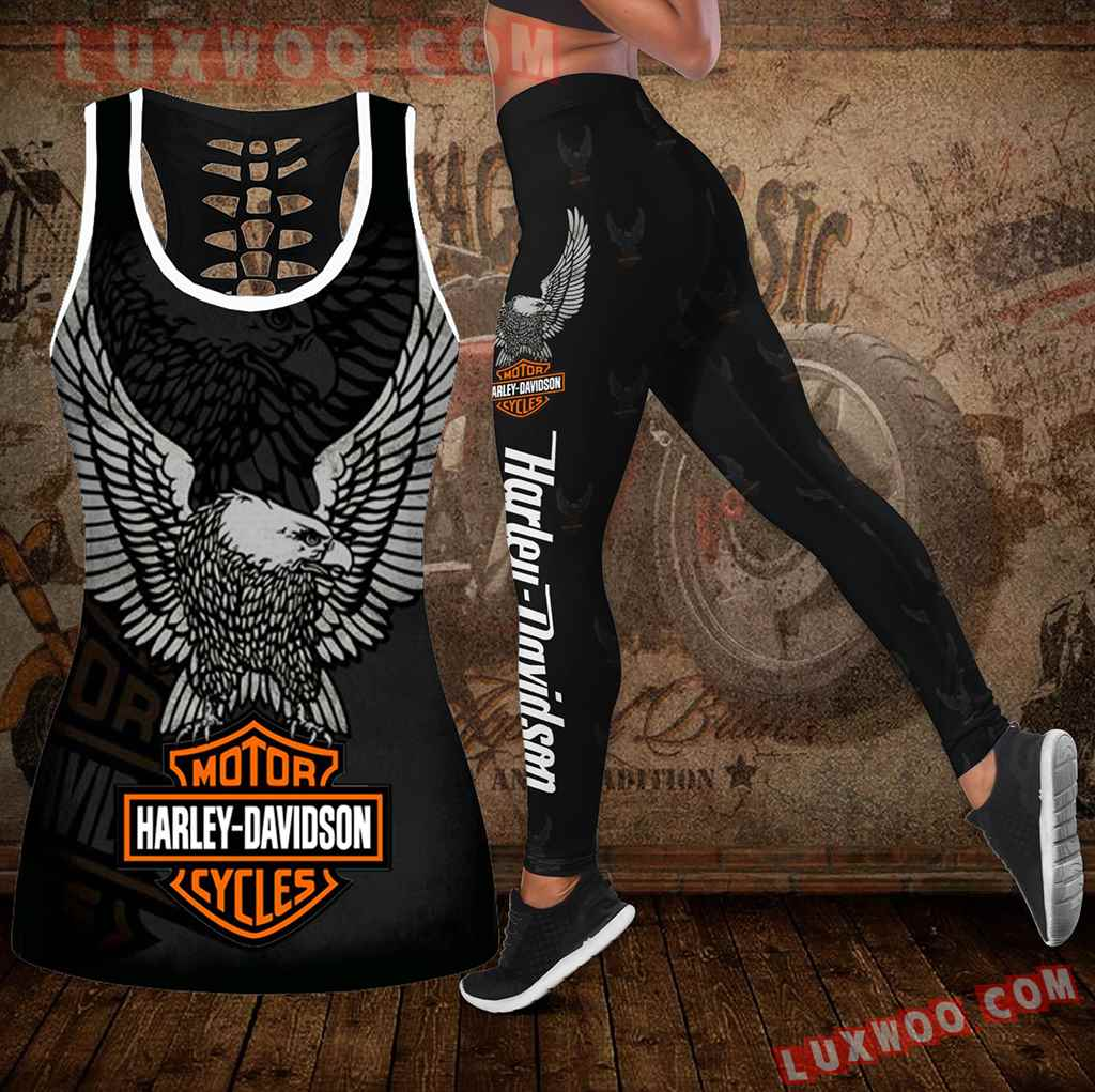 Combo Harley Davidson New Hollow Tanktop Legging Set Outfit K1947